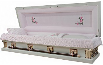 2015X-FC- Oversize Full Couch w/Foot Panel Carnation Casket 27 inch inside / 28 inch outside