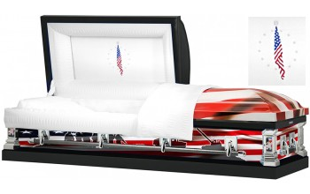8311 - Army Wrapped Casket, 18ga White Crepe Interior Flag Head Panel