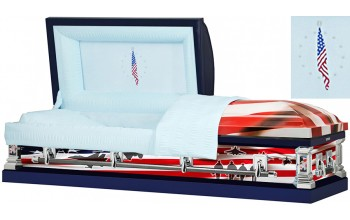 8313 - Air Force Wrapped Casket, 18ga Light Blue Interior Flag Head Panel