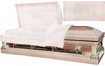 8430 - Mother Casket w/ Curtains Head Panel, 18gaPink w/ Orchid Natural BrushSilver Hardware, Pink Velvet