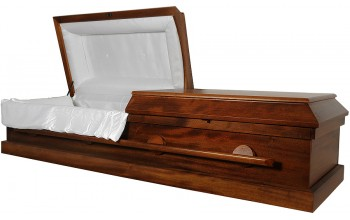 8801 - Solid Wood Cremation Casket  White Simple Interior   Few Metal Parts